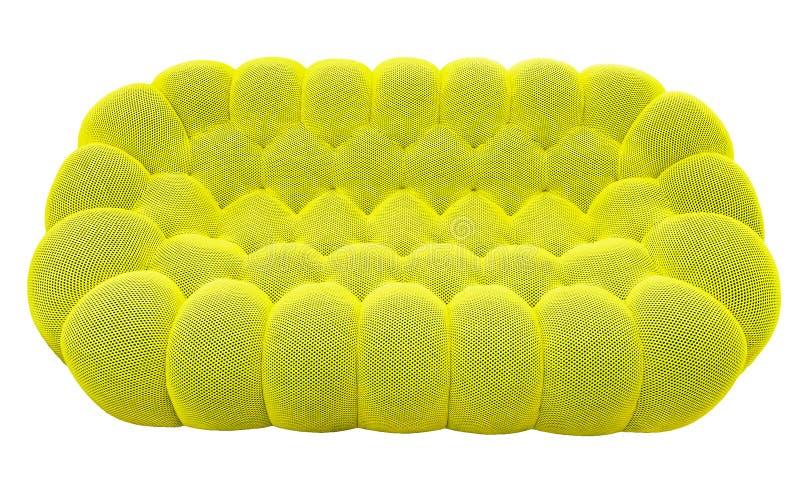 Πράσινος καναπές ασβέστη με το μαξιλάρι Μαλακός καναπές λεμονιών Κλασικό ντιβάνι φυστικιών στο απομονωμένο υπόβαθρο στοκ φωτογραφία με δικαίωμα ελεύθερης χρήσης