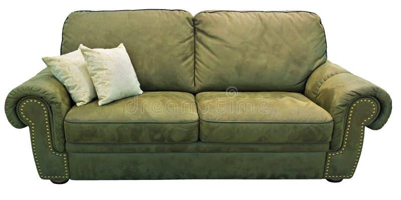 Πράσινος καναπές ελιών με το μαξιλάρι Μαλακός χακί καναπές Κλασικό ντιβάνι φυστικιών στο απομονωμένο υπόβαθρο Καναπές υφάσματος δ στοκ φωτογραφία με δικαίωμα ελεύθερης χρήσης
