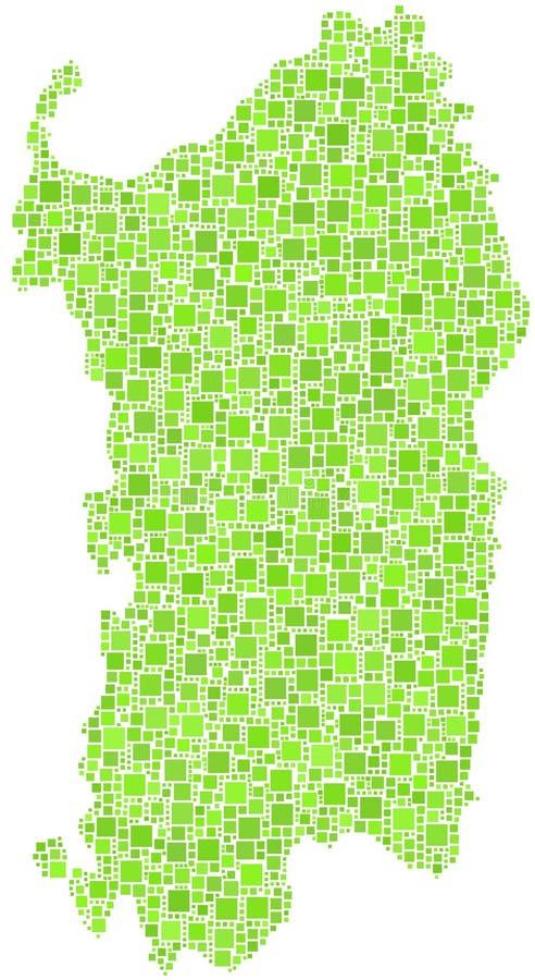 Πράσινος κεραμωμένος χάρτης της Σαρδηνίας απεικόνιση αποθεμάτων