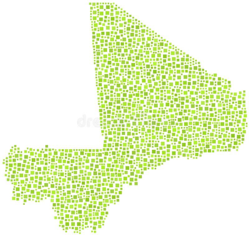 Πράσινος κεραμωμένος χάρτης του Μαλί διανυσματική απεικόνιση