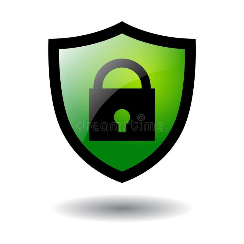 Πράσινος κλειδαριών ασφάλειας ασπίδων που απομονώνεται απεικόνιση αποθεμάτων