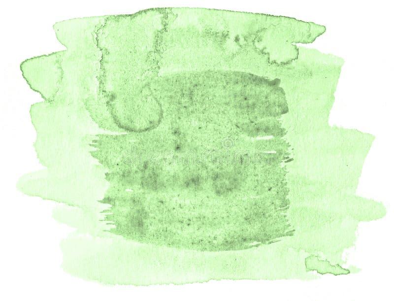 Πράσινος κρητιδογραφιών λεκές πλυσίματος watercolor hand-drawn απομονωμένος στο άσπρο υπόβαθρο στοκ εικόνα με δικαίωμα ελεύθερης χρήσης