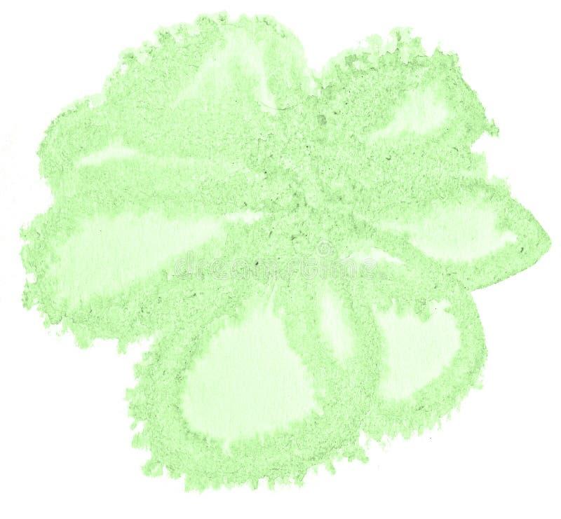 Πράσινος κρητιδογραφιών λεκές πλυσίματος watercolor hand-drawn απομονωμένος στο άσπρο υπόβαθρο στοκ εικόνες