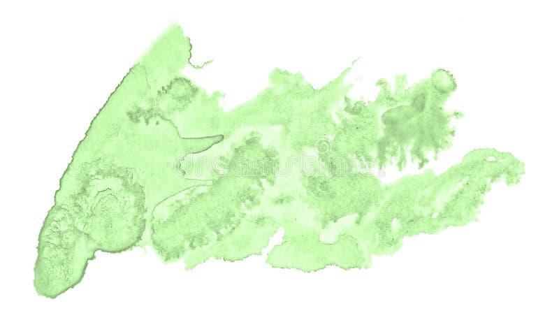 Πράσινος κρητιδογραφιών λεκές πλυσίματος watercolor hand-drawn απομονωμένος στο άσπρο υπόβαθρο στοκ φωτογραφία με δικαίωμα ελεύθερης χρήσης