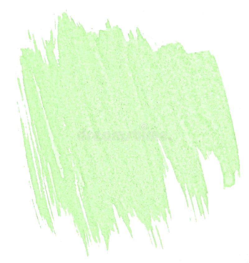 Πράσινος κρητιδογραφιών λεκές πλυσίματος watercolor hand-drawn απομονωμένος στο άσπρο υπόβαθρο στοκ εικόνα