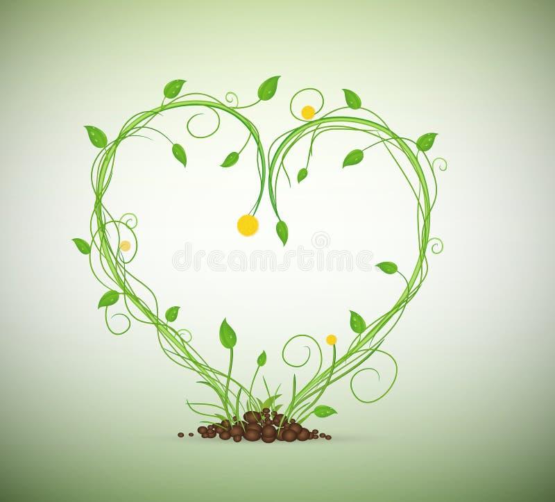 Πράσινος νεαρός βλαστός στη σύνθεση θερμότητας, διανυσματική απεικόνιση