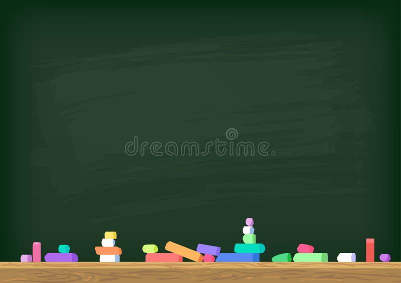 Πράσινος πίνακας κιμωλίας με τη ζωηρόχρωμη κιμωλία διανυσματική απεικόνιση