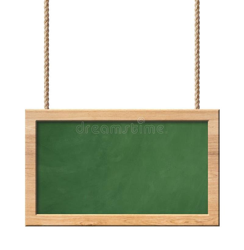 Πράσινος πίνακας με τη φωτεινή ξύλινη ένωση πλαισίων στα σχοινιά που απομονώνονται στο άσπρο υπόβαθρο ελεύθερη απεικόνιση δικαιώματος