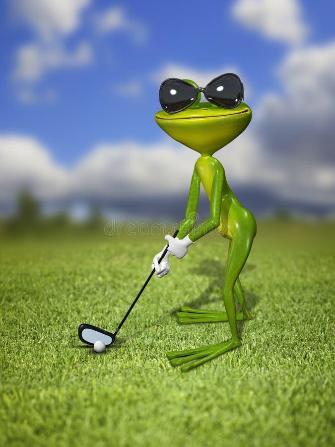 Πράσινος παίκτης γκολφ βατράχων ελεύθερη απεικόνιση δικαιώματος