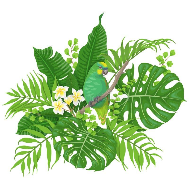 Πράσινος παπαγάλος και τροπικές εγκαταστάσεις απεικόνιση αποθεμάτων