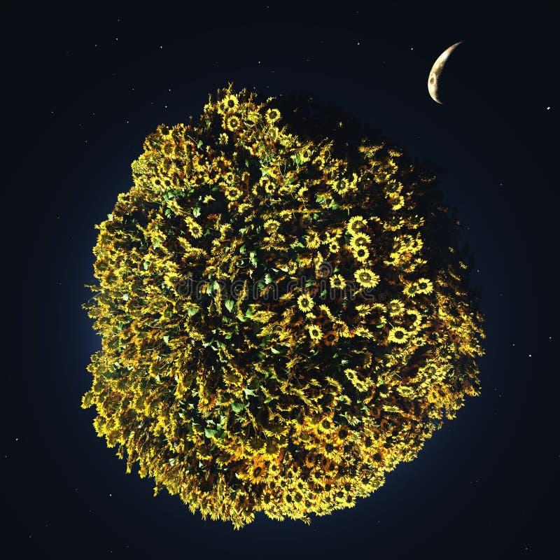 Πράσινος πλανήτης στο μακρινό διάστημα ελεύθερη απεικόνιση δικαιώματος