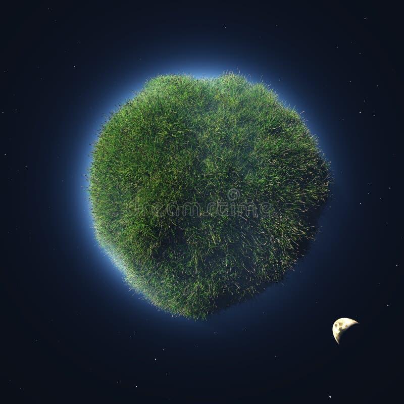 Πράσινος πλανήτης στο μακρινό διάστημα απεικόνιση αποθεμάτων