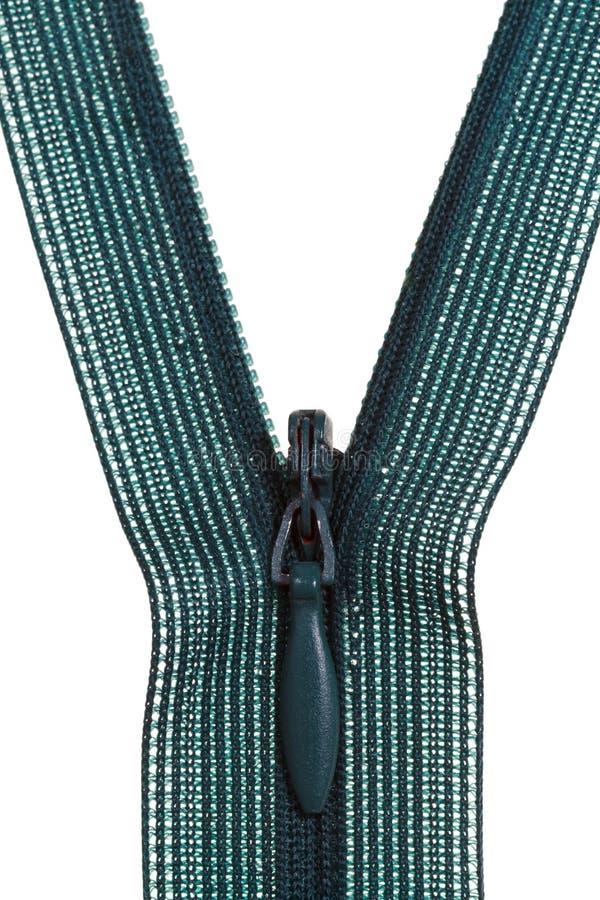 Πράσινος πλαστικός στενός επάνω φερμουάρ σπειρών στοκ φωτογραφία με δικαίωμα ελεύθερης χρήσης