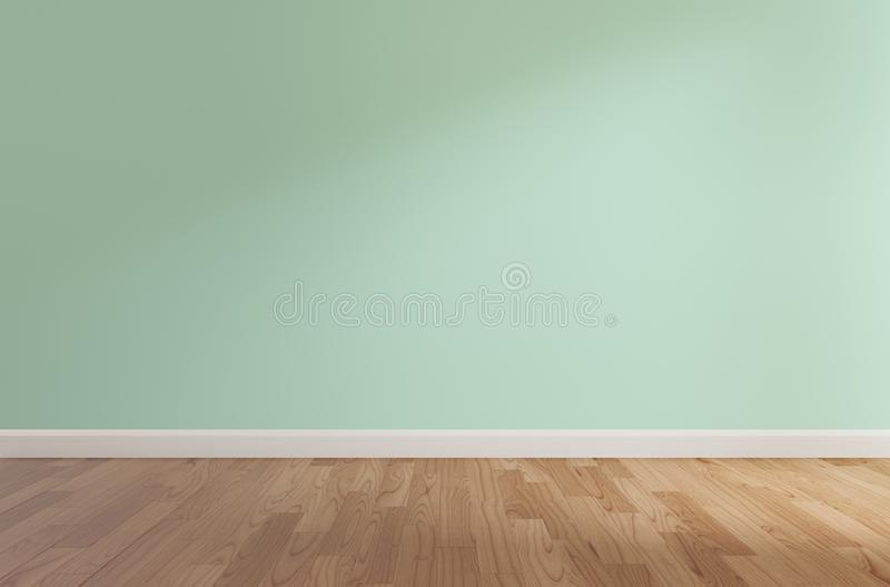 Πράσινος τοίχος και ξύλινο πάτωμα, τρισδιάστατη απόδοση ελεύθερη απεικόνιση δικαιώματος