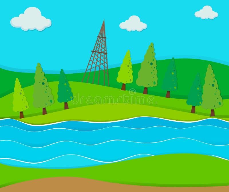 Πράσινος τομέας από τον ποταμό διανυσματική απεικόνιση