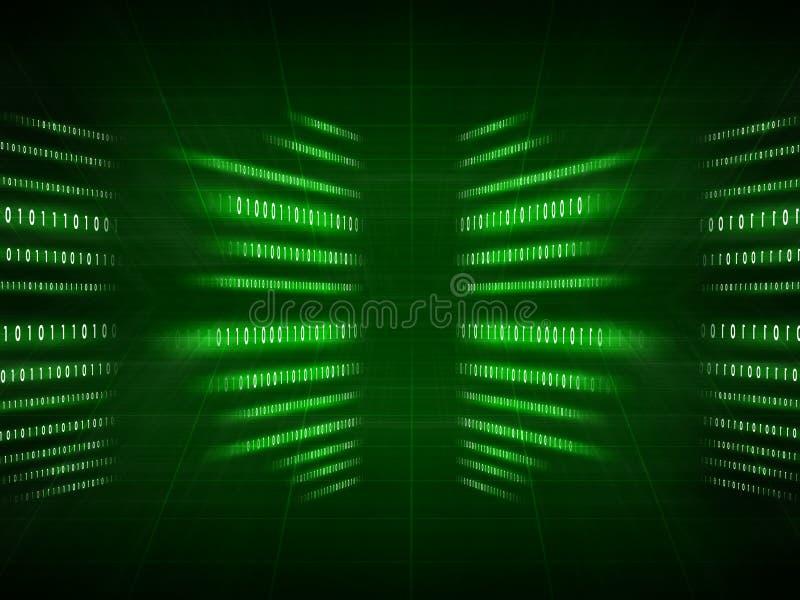 Πράσινος δυαδικός κώδικας στο Μαύρο στοκ εικόνα