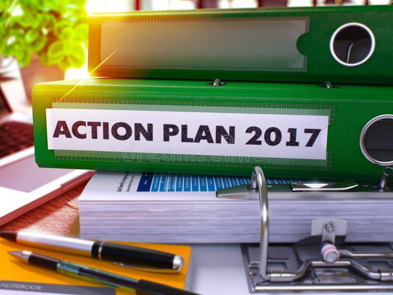 Πράσινος φάκελλος γραφείων με το σχέδιο δράσης 2017 επιγραφής τρισδιάστατος στοκ εικόνες