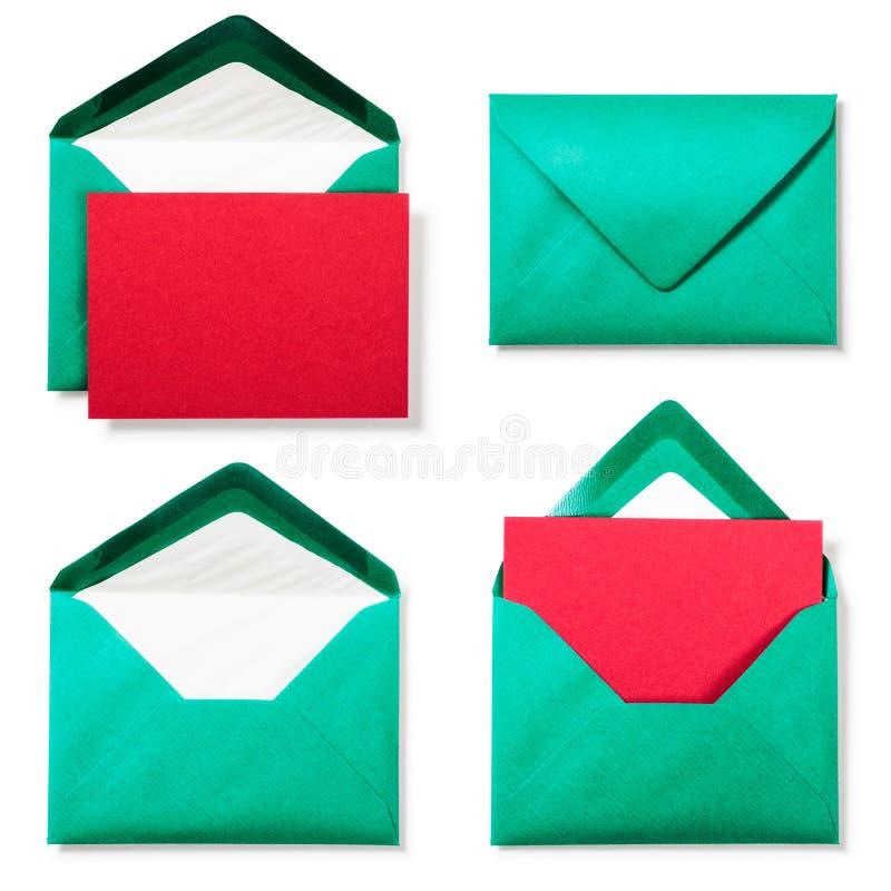 Πράσινος φάκελος με την κόκκινη κάρτα στοκ φωτογραφίες
