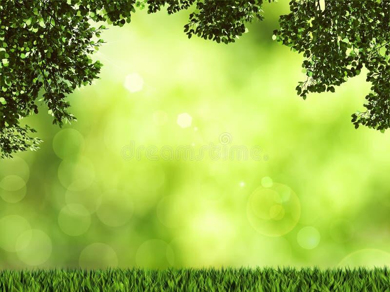 πράσινος φυσικός εκλεκτικός εστίασης ανασκόπησης τρισδιάστατος δώστε διανυσματική απεικόνιση