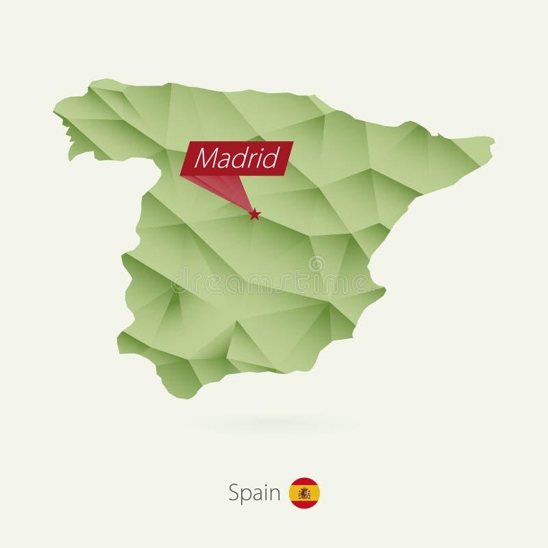Πράσινος χαμηλός πολυ χάρτης κλίσης της Ισπανίας με την κύρια Μαδρίτη απεικόνιση αποθεμάτων