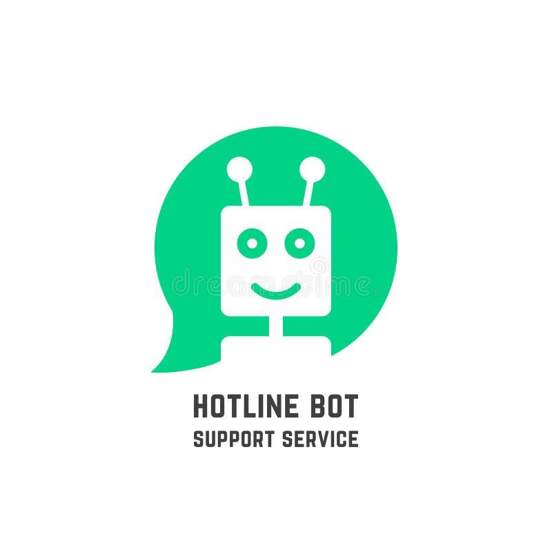 Πράσινο άμεσο BOT λογότυπο όπως τη υπηρεσία υποστήριξης διανυσματική απεικόνιση