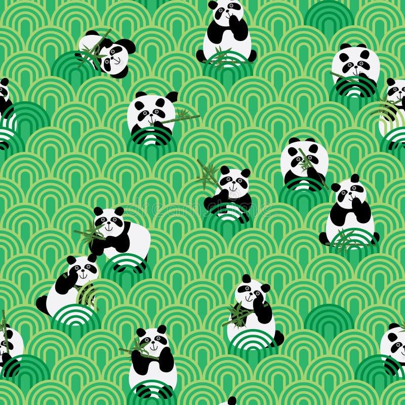 Πράσινο άνευ ραφής σχέδιο αγάπης της Panda διανυσματική απεικόνιση