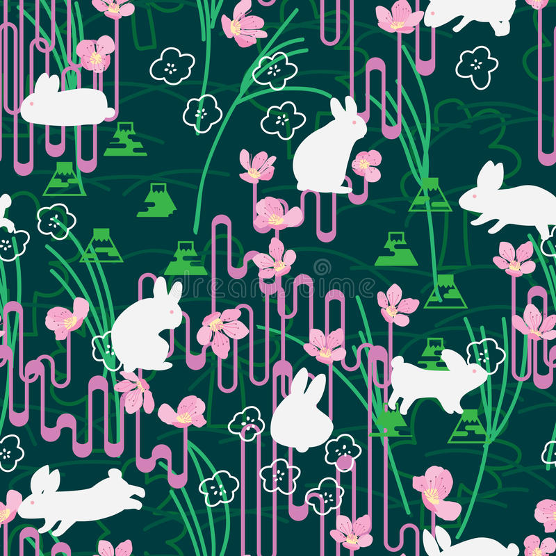 Πράσινο άνευ ραφής σχέδιο γραμμών ύφους της Ιαπωνίας Sakura κουνελιών απεικόνιση αποθεμάτων