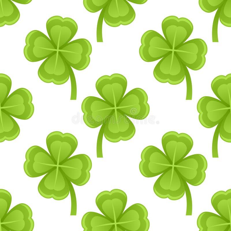Πράσινο άνευ ραφής σχέδιο τεσσάρων τριφυλλιών φύλλων απεικόνιση αποθεμάτων