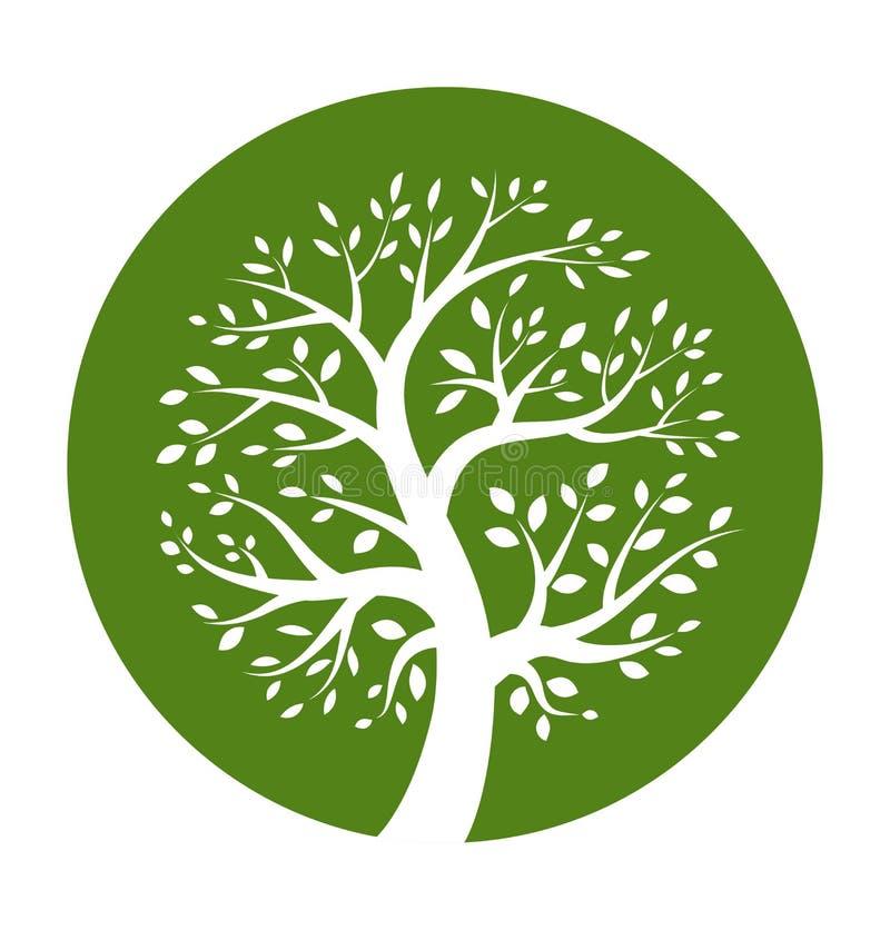 Πράσινο δέντρο γύρω από το εικονίδιο διανυσματική απεικόνιση