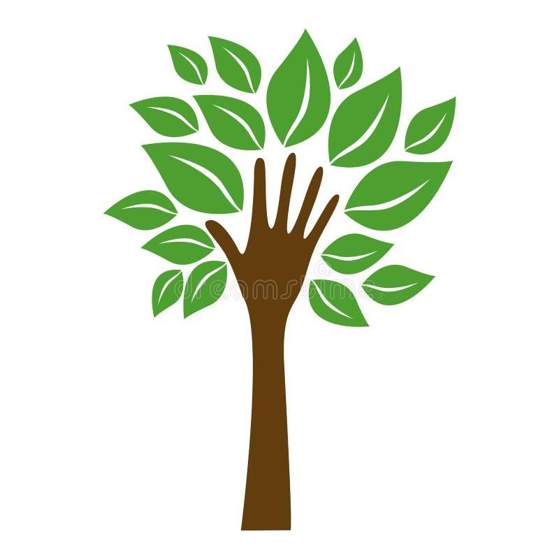 πράσινο δέντρο με τα φύλλα και μίσχος στο χέρι μορφής διανυσματική απεικόνιση