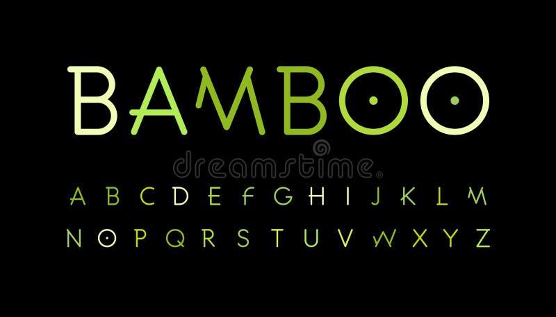 Πράσινο αλφάβητο φύσης Ύφος κλάδων μπαμπού που στοιχειοθετείται Τροπική δασική πηγή Φυσικό ασιατικό δάσος, σύνολο επιστολών λεπτύ διανυσματική απεικόνιση