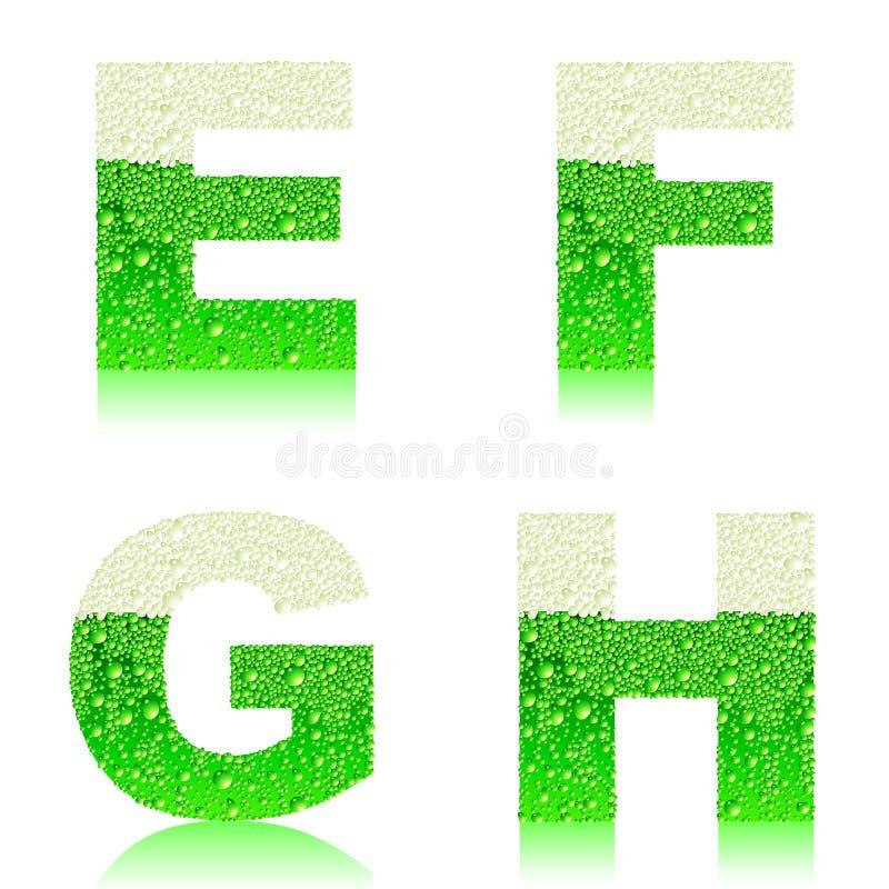 Πράσινο αλφάβητο EFGH απεικόνιση αποθεμάτων