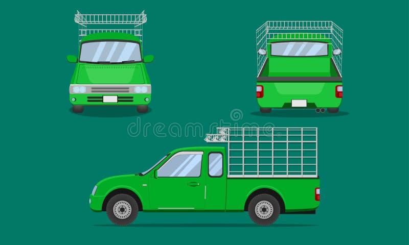 Πράσινο αμάξι ανοιχτών φορτηγών με το χάλυβα αυτοκινήτων που ξύνει διανυσματική απεικόνιση eps10 μεταφορών άποψης μπροστινής πλευ διανυσματική απεικόνιση