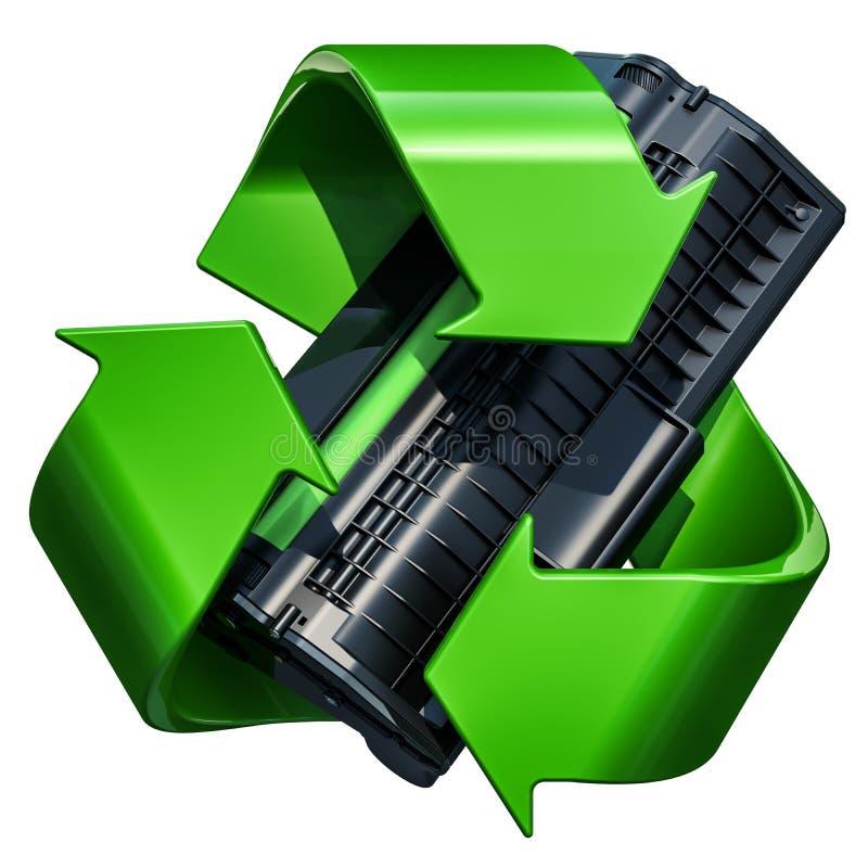 Πράσινο ανακύκλωσης σύμβολο με την κασέτα τονωτικού, τρισδιάστατη απόδοση απεικόνιση αποθεμάτων