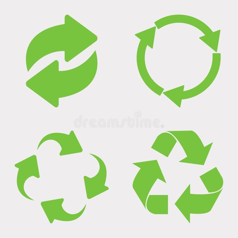 Πράσινο ανακύκλωσης σύνολο εικονιδίων στοκ εικόνες