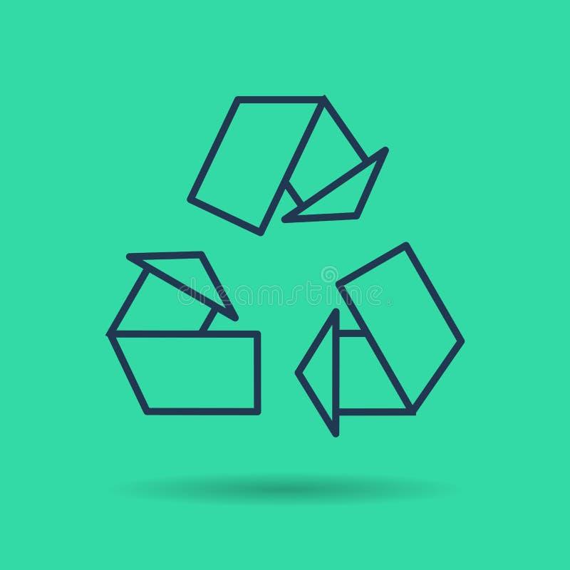 Πράσινο απομονωμένο γραμμικό εικονίδιο - σύμβολο επαναχρησιμοποίησης eco απεικόνιση αποθεμάτων