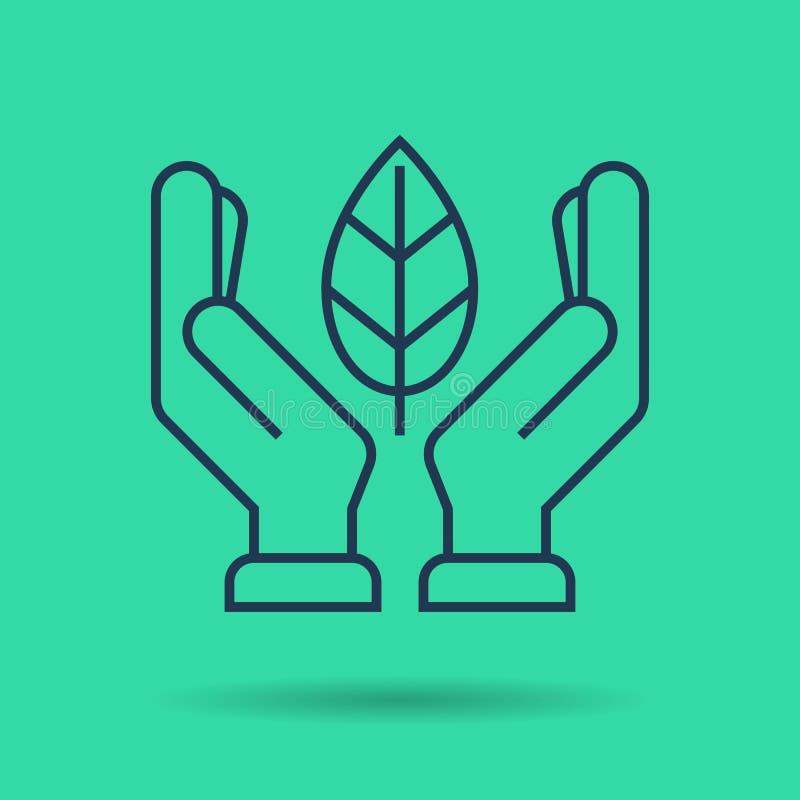 Πράσινο απομονωμένο γραμμικό εικονίδιο - χέρια με το φύλλο ελεύθερη απεικόνιση δικαιώματος
