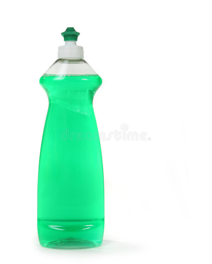 πράσινο απομονωμένο υγρό σαπούνι πλυσίματος των πιάτων μπουκαλιών στοκ φωτογραφία