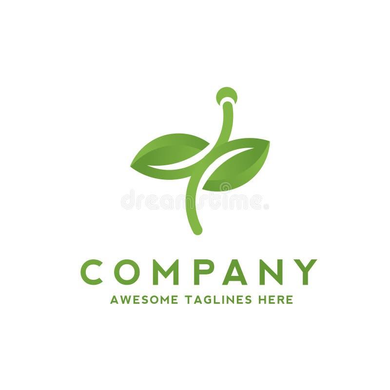 Πράσινο απομονωμένο φύλλο λογότυπο νεαρών βλαστών απεικόνιση αποθεμάτων