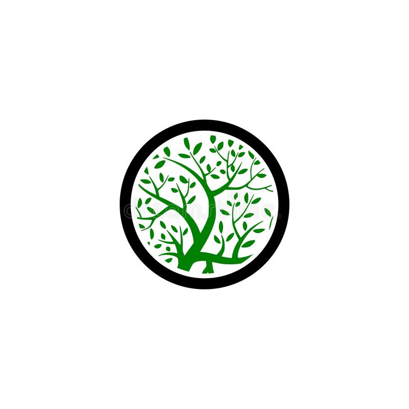 Πράσινο αρχικό σχέδιο λογότυπων δέντρων απεικόνιση αποθεμάτων