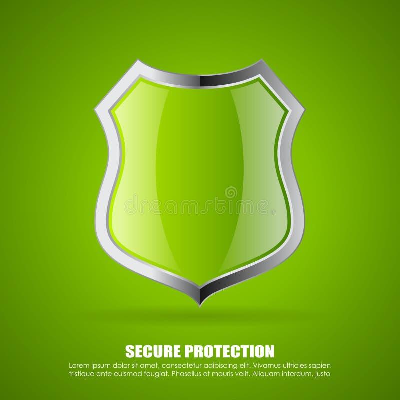Πράσινο ασφαλές εικονίδιο ασπίδων ελεύθερη απεικόνιση δικαιώματος