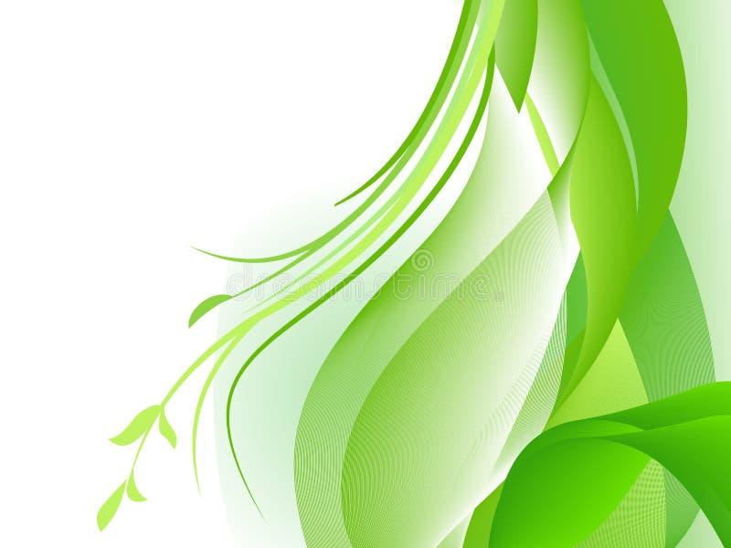 Πράσινο αφηρημένο σχέδιο με τα φυτά διανυσματική απεικόνιση