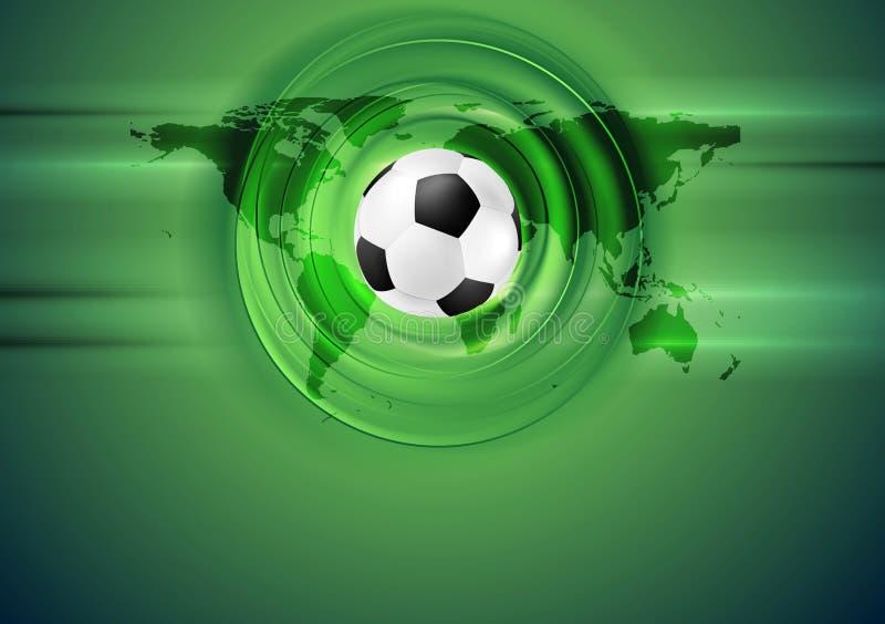 Πράσινο αφηρημένο υπόβαθρο ποδοσφαίρου με τον παγκόσμιο χάρτη διανυσματική απεικόνιση