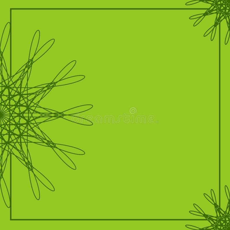 Πράσινο αφηρημένο floral πλαίσιο Γεωμετρικό πρότυπο συνόρων Υπόβαθρο για τις προσκλήσεις, ευχετήριες κάρτες, κάρτες, φυλλάδια, επ διανυσματική απεικόνιση