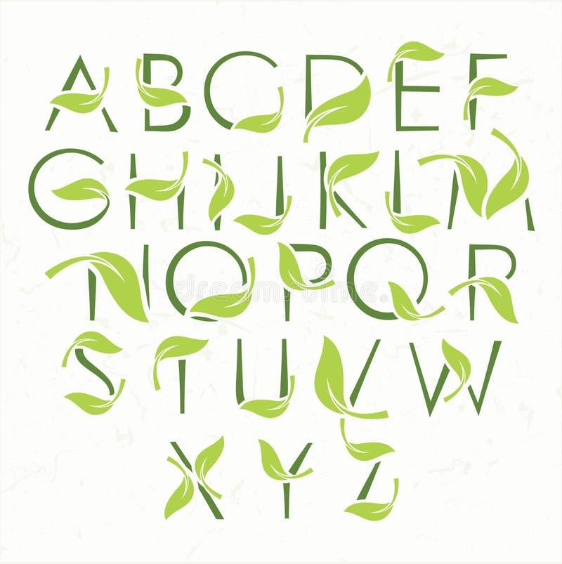 Πράσινο αλφάβητο eco με τα φύλλα ελεύθερη απεικόνιση δικαιώματος