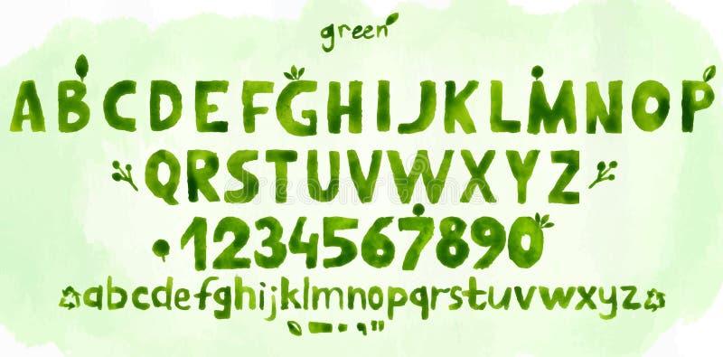 Πράσινο αλφάβητο watercolor hand-drawn απεικόνιση αποθεμάτων