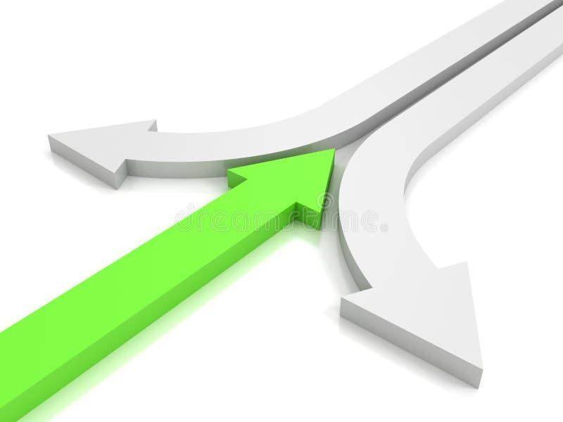 Πράσινο βέλος ενάντια στα αντίθετα άσπρα βέλη. έννοια σύγκρουσης προσωπικότητας. απεικόνιση αποθεμάτων
