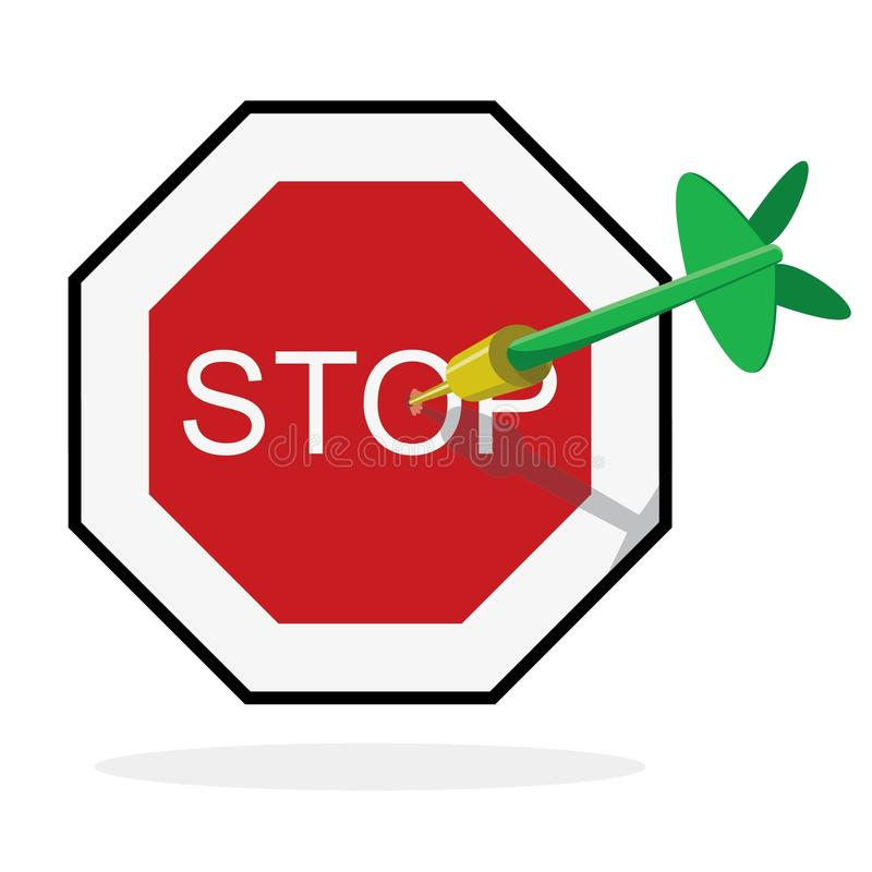 Πράσινο βέλος που χτυπά το κέντρο του σημαδιού στάσεων ελεύθερη απεικόνιση δικαιώματος