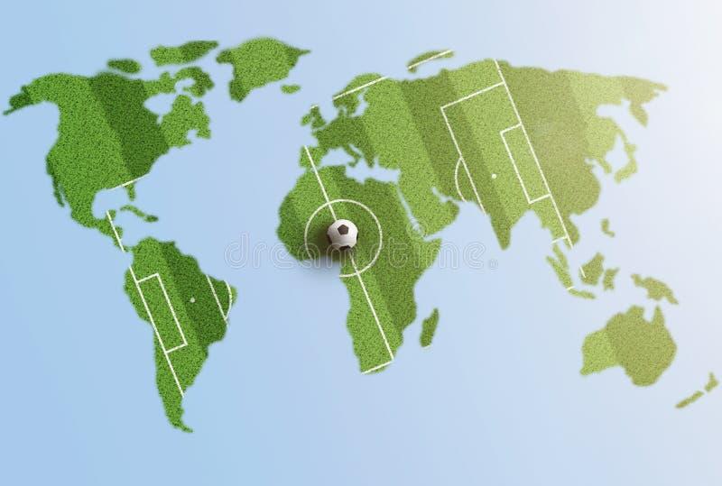 Πράσινο γήπεδο ποδοσφαίρου χλόης στον παγκόσμιο χάρτη ελεύθερη απεικόνιση δικαιώματος