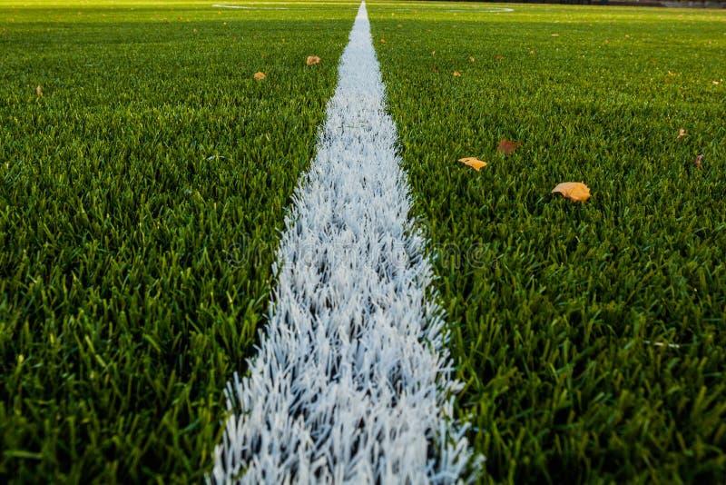 Πράσινο γήπεδο ποδοσφαίρου με τη γραμμή σημαδιών στοκ φωτογραφία